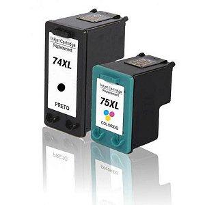 Kit Cartucho de Tinta Hp 74Xl 75 Xl Compatível Preto + Colorido