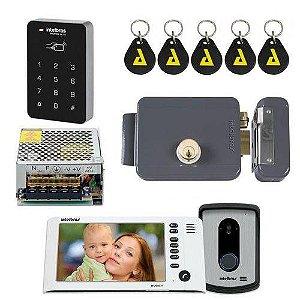 Kit Controle de Acesso Video Porteiro Iv 7010 Hf Branco Com senha