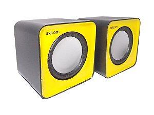 Caixa de Som 5w Para Computador e Smartphone Cs-32 Amarelo/Preto - Exbom