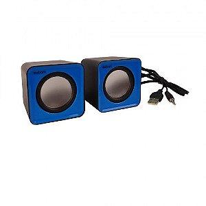 Caixa de Som 5w Para Computador e Smartphone Cs-32 Azul/Preto - Exbom