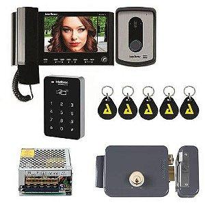 Kit Controle de Acesso Video Porteiro Iv 7010 Hs Preto Com senha