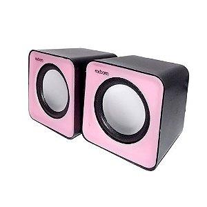 Caixa de Som 5w Para Computador e Smartphone Cs-32 Rosa/Preto - Exbom