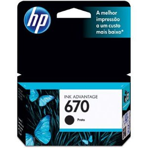 Cartucho de Tinta Original HP 670 (Cz113) Preto 7,5ml