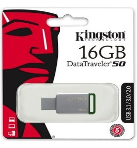 Pen Drive 16GB 3.1/3.0/2.0 USB DataTraveler 50 Prata - Kingston