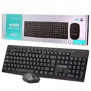Kit Teclado E Mouse Sem Fio 2.4g Preto Xz-8012 - X Zhang