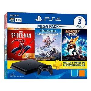 Console Sony PlayStation 4 1TB CUH-2214B Mega Pack V15 Hits Horizon Zero Dawn, Marvel´s Spider-Man, Ratchet & Clank - Preto