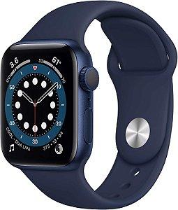 Apple  Watch Series 6 Silver Aluminum Case com Deep Navy Sport Band 40mm (GPS) Com Oximetro Pulseira Esportiva (A2291)