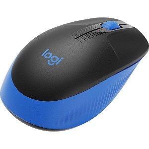 Mouse S/Fio M190 (910-005903) com Design Ambidestro de Tamanho Padrão e Pilha Incluída Azul - Logitech