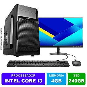 Microcomputador Completo Intel Core i3 3.0Ghz 4gb Ram HD 240 SSD Monitor 18,5 Polegadas Teclado e Mouse