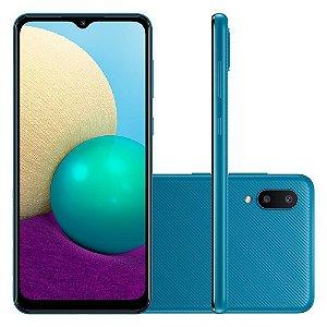 """Smartphone Galaxy A02 Câmera Dupla Traseira 13MP Tela Infinita 6,5"""" 32GB Azul - Samsung"""