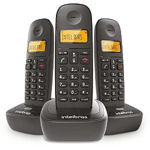 Telefone Sem Fio TS 2513 + 2 Ramais, Com Identificador De Chamadas e Display Luminoso, Preto - Intelbras