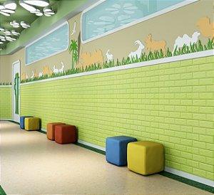 Painel de Tijolinho 3D Verde, Autocolantes, Laváveis, Espessura 6mm- 70x77cm