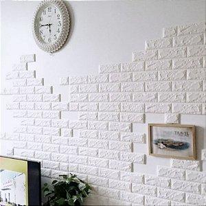Painel de Tijolinho 3D Branco, Autocolantes, Laváveis, Espessura 6mm- 70x77cm