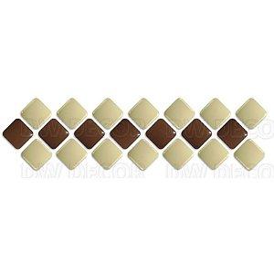 Pastilhas Adesiva Resinada, Faixa Diagonal, Marrom, Bege, Faixa 30x8cm