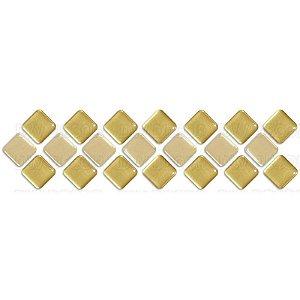 Pastilhas Adesiva Resinada, Faixa Diagonal Ouro e Bege, Faixa 30x8cm