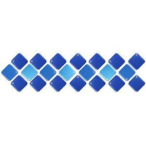Pastilhas Adesiva Resinada, Faixa Diagonal, Tons de azul, Faixa 30x8cm