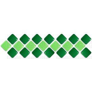 Pastilhas Adesiva Resinada, Faixa Diagonal, Verde Bandeira e Verde Abacate, Faixa 30x8cm