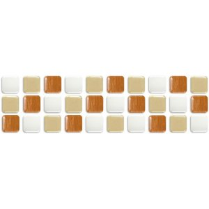 Pastilhas Adesiva Resinada, Faixa Tripla, Bronze, Bege e Branco
