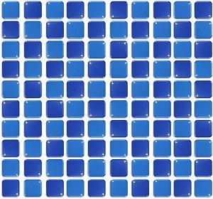 Pastilhas Adesiva Resinada, Placa 30cm, Azul Médio e Azul Marinho