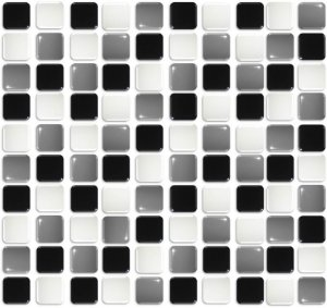 Pastilhas Adesiva Resinada, Placa 30cm, Preto, Branco e Cinza Escuro