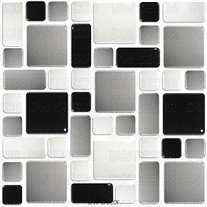 Pastilhas Adesiva Resinada, Placa Geométrica 30cm, Preto, Cinza Claro e Branco