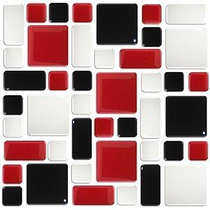 Pastilhas Adesiva Resinada, Placa Geométrica 30cm, Preto, Vermelho e Branco