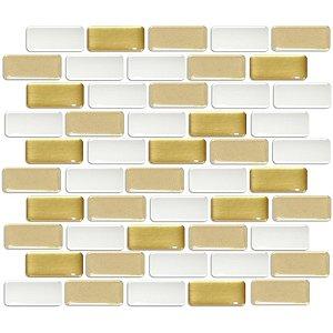 Pastilhas Adesiva Resinada, Placa Tijolinho 30cm, Branco, Bege e Ouro