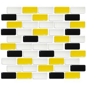 Pastilhas Adesiva Resinada, Placa Tijolinho 30cm, Preto, Branco e Amarelo Médio