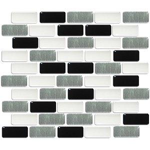 Pastilhas Adesiva Resinada, Placa Tijolinho 30cm, Preto, Branco e Prata escovado