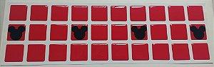 Pastilhas Adesivas Resinadas, Tema do Mickey, Faixa 30x9cm - Cor Vermelho e Preto