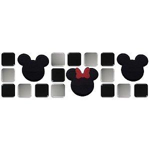 Pastilhas Adesivas Resinadas, Tema do Mickey, Faixa 28x9cm - Preto e Cinza