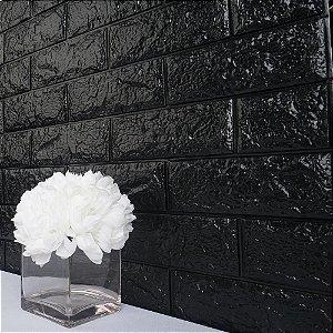 Painel de Tijolinho 3D Preto, Autocolantes, Laváveis, Espessura 6mm- 70x77cm