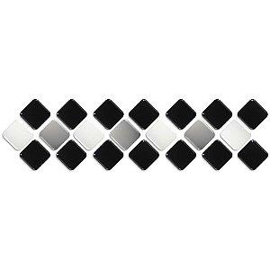 Pastilhas Adesiva Resinada, Faixa Diagonal, Preto, Cinza Claro e Branco, Faixa 30x8cm
