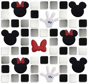 Pastilhas Adesivas Resinadas, Tema do Mickey, Placa 28cm - Preto, Branco e Cinza, Fundo Branco