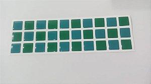 Pastilhas Adesiva Resinada, Faixa Tripla, Verde Bandeira e Verde Água