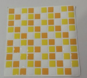 Pastilha Adesiva Resinada, Placa 30cm, Amarelo Médio, Amarelo Ouro e Branco