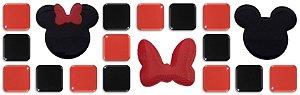 Pastilhas Adesivas Resinadas, Tema do Mickey, Faixa 28x9cm - Preto e Vermelho com laço