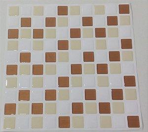 Pastilha Adesiva Resinada, Placa 30cm, Branco, Bronze e Bege