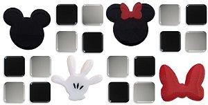 Pastilhas Adesivas Resinadas, Tema do Mickey, Faixa 24,8x12,20cm - Preto e Cinza Claro