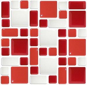 Pastilhas Adesiva Resinada, Placa Geométrica 30cm, Vermelho Vivo, Radiante e Branco