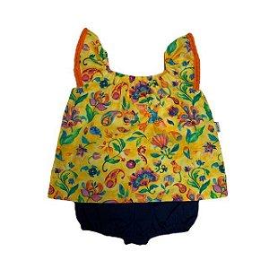 Conjunto Bata e Tapa Fraldas Floral Amarelo