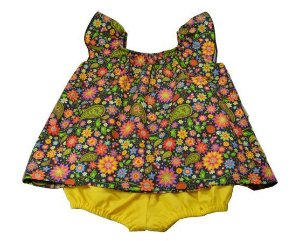 Conjunto Bata e Tapa Fraldas Floral Preto