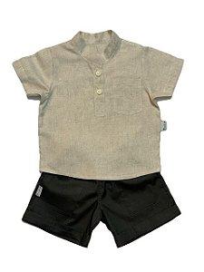 Conjunto Camisa de Linho Bege e Bermuda Cinza Barra Italiana