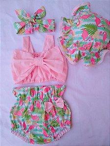 Conjunto Flamingo Party verão