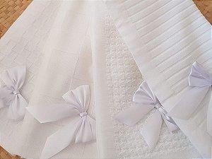 Manta Para Bebê em Crochê branco