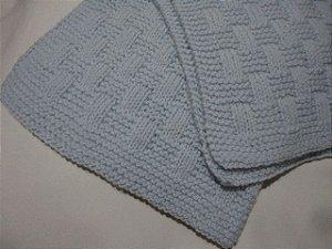 DUPLICADO -  Manta Para Bebê em Crochê azul menino