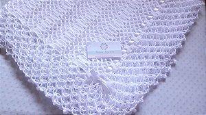Manta Para Bebê em Crochê branco 2