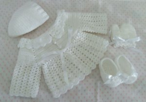 Conjunto Em Crochê Para Bebê branco