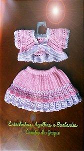 Conjunto Em Crochê Para Bebê rosa princesa 2