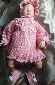Conjunto Em Crochê Para Bebê rosinha princesa